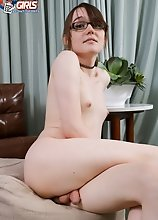 Feeling horny as hell, young tgirl Claire couldn't wait to strip down and show us her slim body! Watch her posing and stroking her cock!