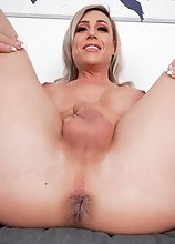 Nikki Jade Taylor has an amazing body, big boobs and juicy ass! Watch her fingering her hole and stroking her cock in this smashing solo scene!