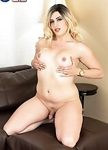 Horny as hell, Cherry Mavrick pulls out her cock and gets it hard. She then shows off her big ass before jacking off and showing off her thick cock.